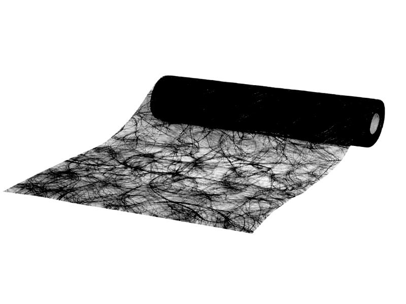 Sizoweb Dekostoff Tischband, Tischläufer  -  30 m x 25 cm, Farbe Farbe Schwarz