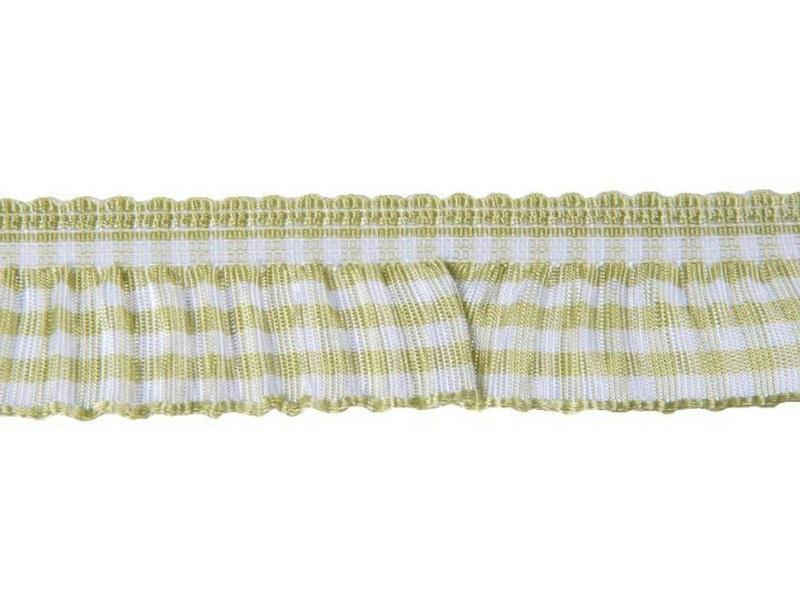 Qualitäts-Dekoband Karoband gerüscht 20mm x 9m, Farbe Grün