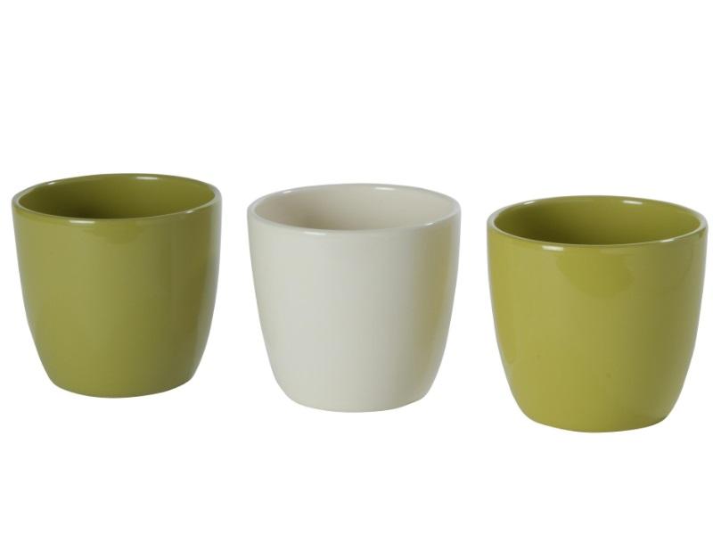 "3 Übertöpfe - Pflanzenkübel ""COLOR"" sortiert aus Keramik  Ø 13 cm"