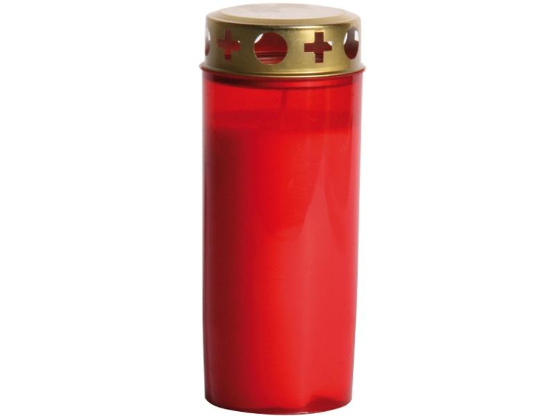 6 Grabkerzen Grablichter Weiß oder Rot mit Deckel Höhe 17 cm (Rot)