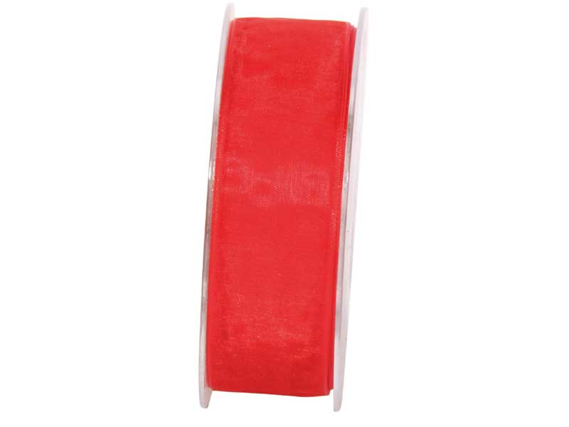 Dekoband Beauty-Organdy 25mm x 50m , Farbe Rot