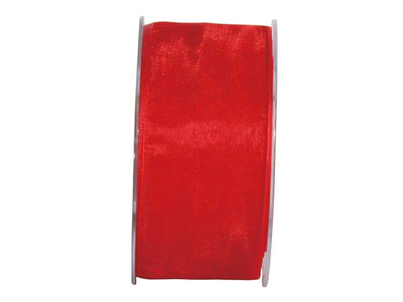 Dekoband Beauty-Organdy 40mm x 50m , Farbe Rot