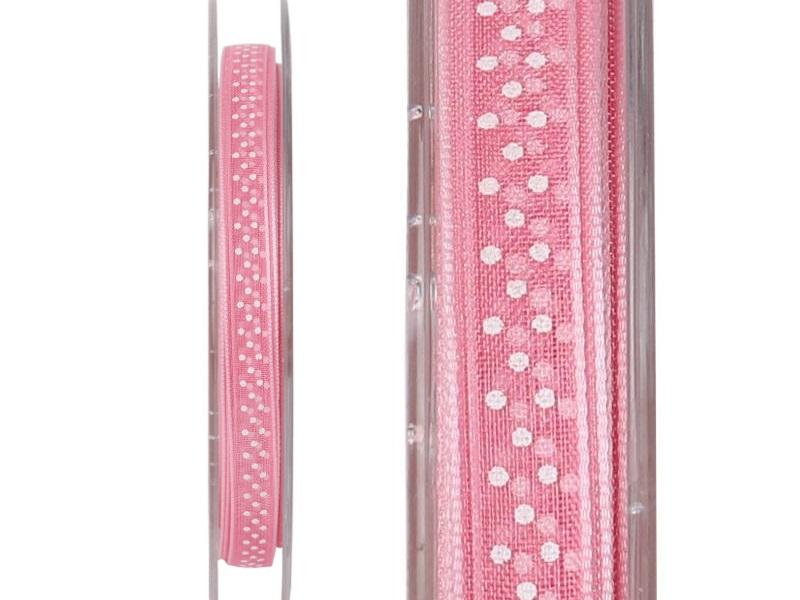 """Dekobande """"LELE"""" mit Punkten 7mm x 20m - verschiedene Farben Rosa"""