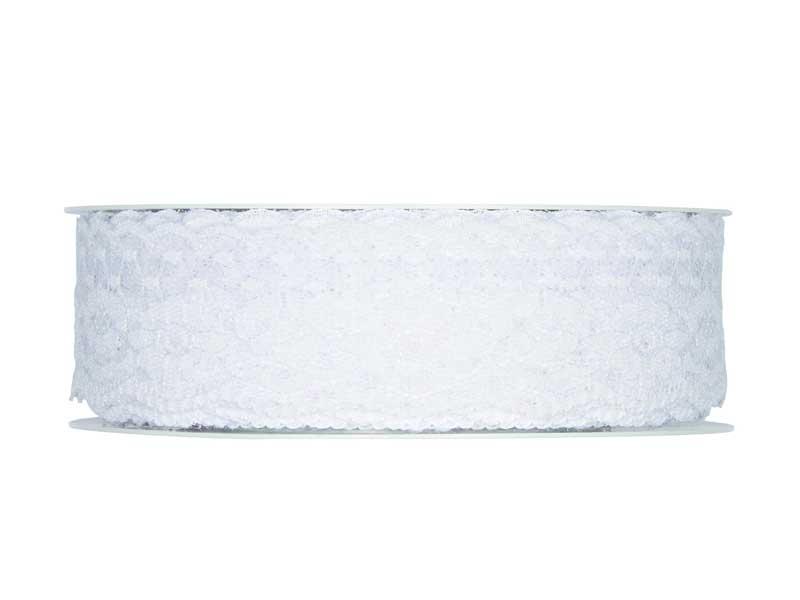 Dekoband Spitze 37mm x 15m Weiss