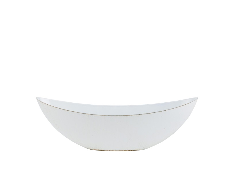Deko-Schiffchen Schale aus Plastik Antik-Finish - creme - B34xT10xH12cm