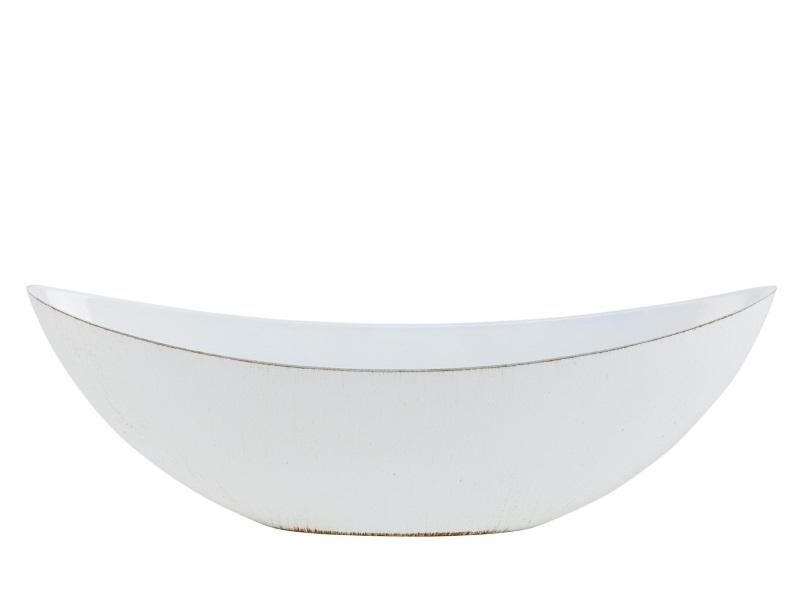 Deko-Schiffchen Schale aus Plastik Antik-Finish - creme - B55xT14xH20cm