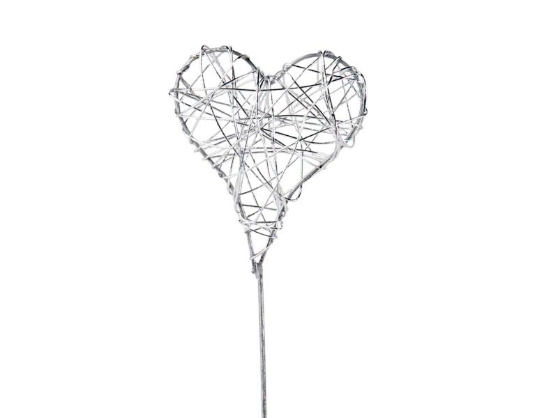 12er Set Dekostecker Herz aus Draht am Stab - silber - B5xH5/25cm