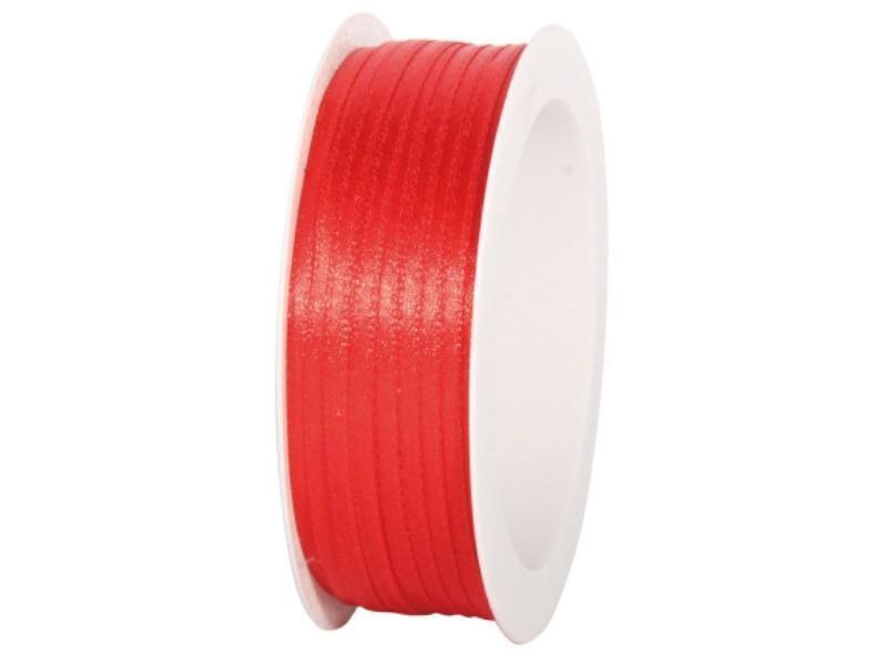 Satinband - Dekoband Geschenkband - Länge 50m x  3mm Rot