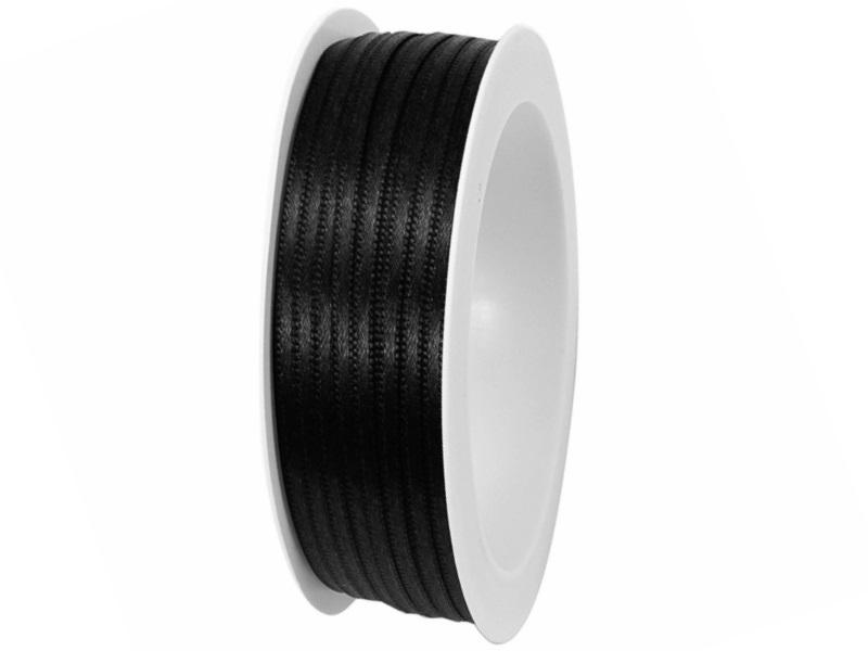 Satinband - Dekoband Geschenkband - Länge 50m x  3mm Schwarz