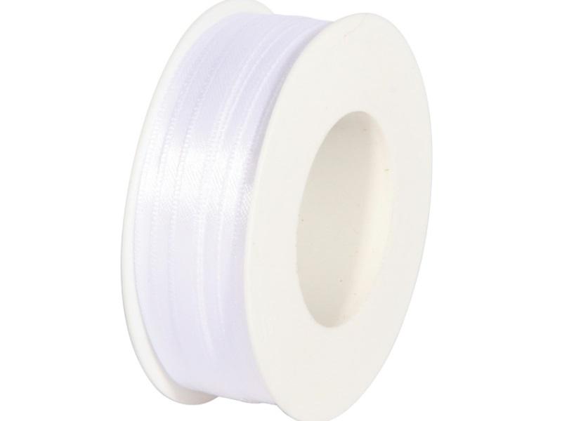 Satinband - Dekoband Geschenkband - Länge 50m x  6mm Weiss