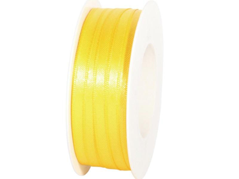 Satinband - Dekoband Geschenkband - Länge 50m x  6mm Gelb