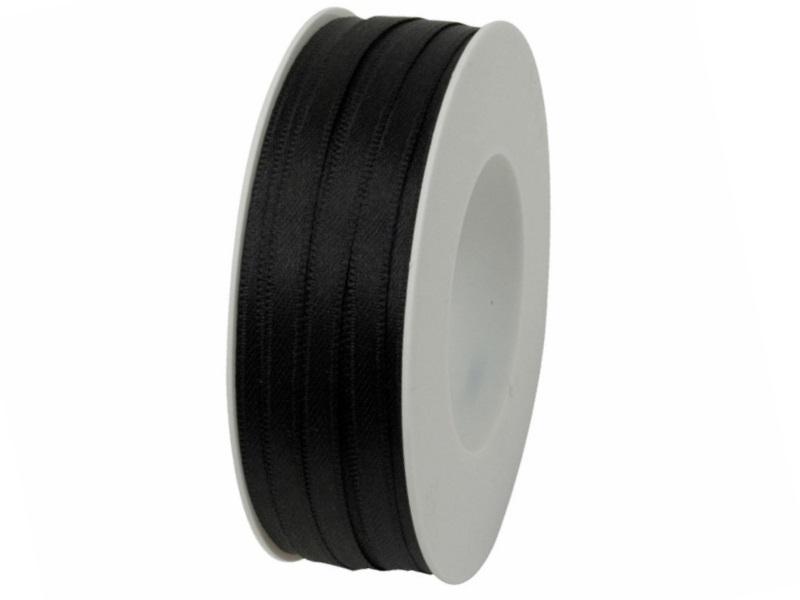 Satinband - Dekoband Geschenkband - Länge 50m x  6mm Schwarz