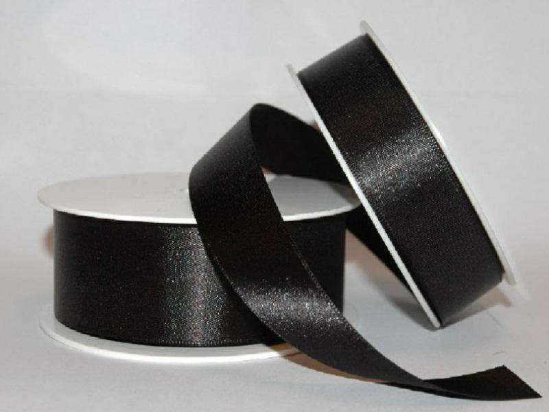 Satinband - Dekoband Geschenkband - Länge 25m x 25mm Schwarz