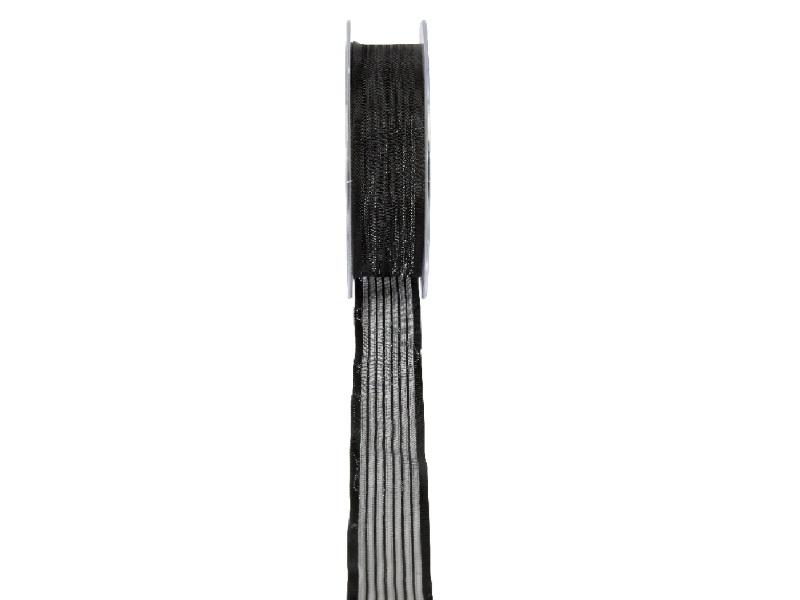 Florband - Schleifenband Trauerschleife Dekoband  (25m x 15mm - Schwarz)