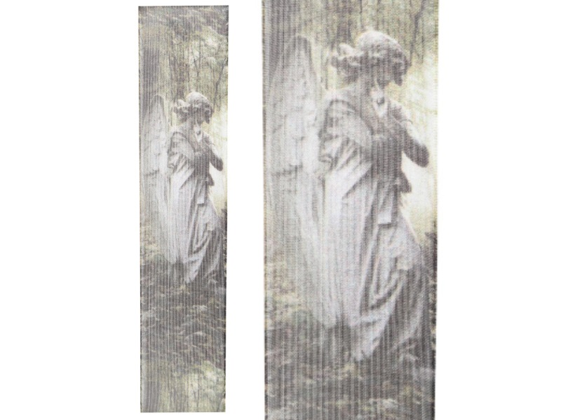Trauerband - Schleifenband Trauerschleife - Beerdigung (15m x 40mm - Motivband Grün-Grau)