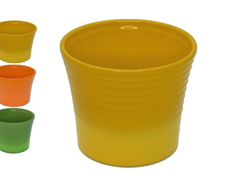"Übertopf - Pflanzenkübel ""INDIAN SUMMER"" aus Keramik  (Ø 17 cm, Gelb)"