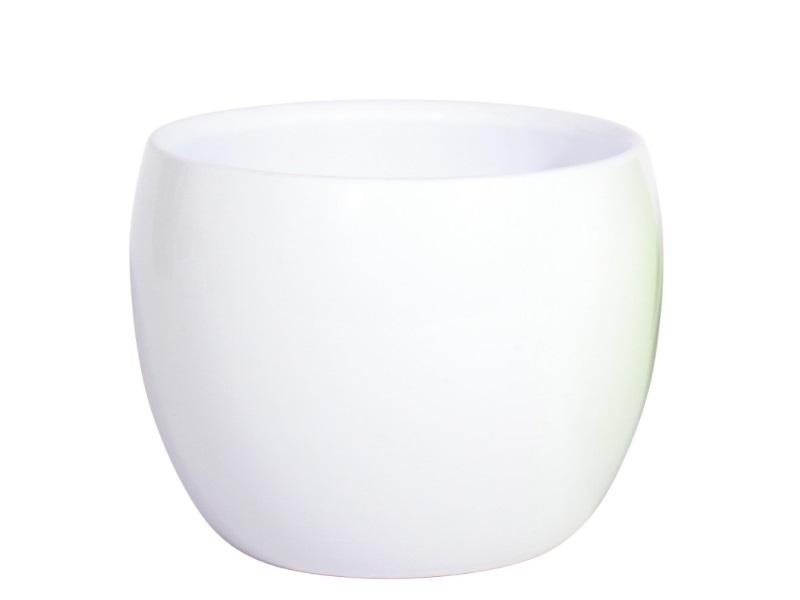 "Blumentopf ""Witgroen"" aus Keramik  (Ø 17 cm x Höhe 14,5 cm, Weiss)"