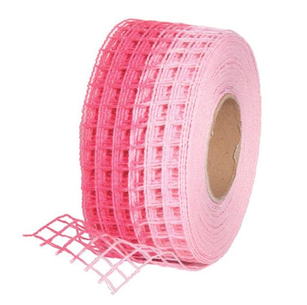 Gitterband 10mx4,5cm Juteband Schleifenband Geschenkband Farbe Pink-Rosa