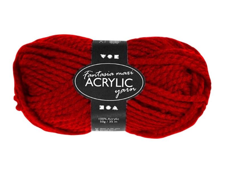 Fantasia Maxi 100% Polyacryl Wolle - 2-fädige Wolle - Länge 35m - 50g – Rot