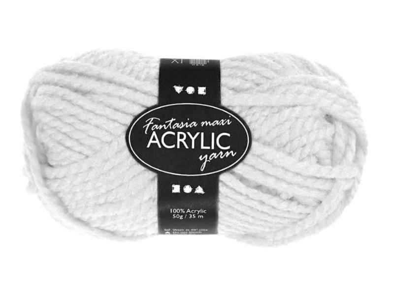 Fantasia Maxi 100% Polyacryl Wolle - 2-fädige Wolle - Länge 35m - 50g - Weiß