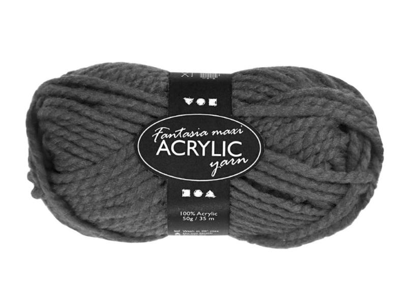 Fantasia Maxi 100% Polyacryl Wolle - 2-fädige Wolle - Länge 35m - 50g - Grau