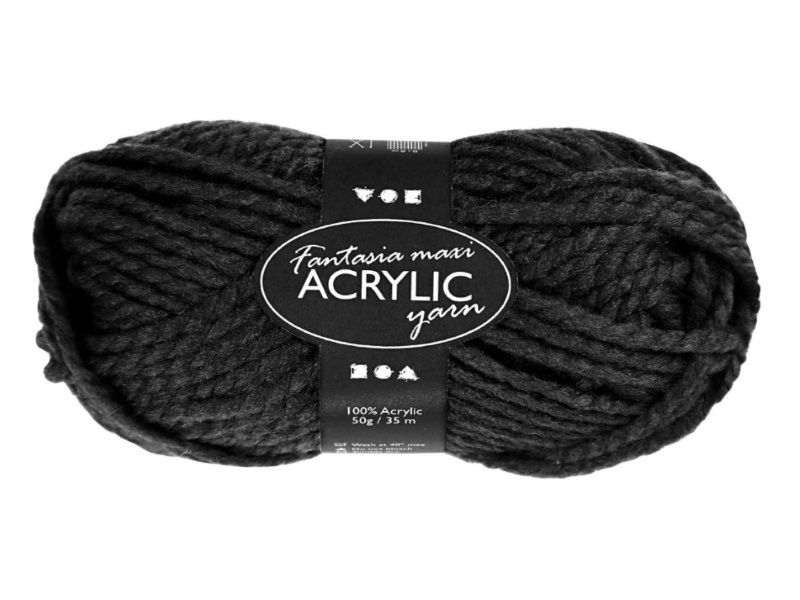 Fantasia Maxi 100% Polyacryl Wolle - 2-fädige Wolle - Länge 35m - 50g - Schwarz