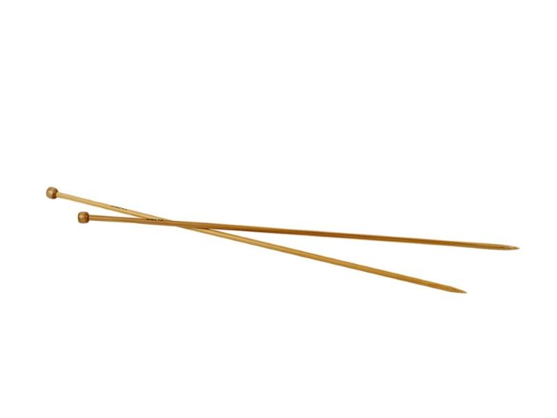Stricknadel aus weichem Bambus - Länge 35cm -1Paar - Var. Nr. 4,5
