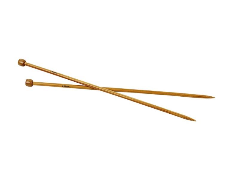 Stricknadel aus weichem Bambus - Länge 35cm -1Paar - Var. Nr. 6,0