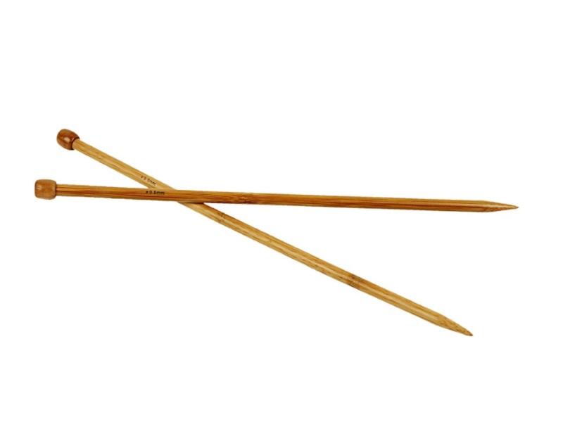 Stricknadel aus weichem Bambus - Länge 35cm -1Paar - Var. Nr. 9,0