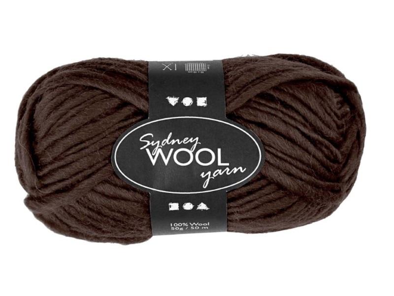 Sydney Wolle - 100 % austral. Deluxe Wolle - Länge 50m - 50g -  Braun