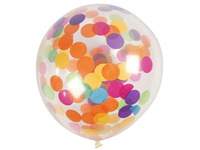 8 Luftballons - Ø 23cm Rund aus Naturgummi - für Helium-Befüllung - mit Konfetti