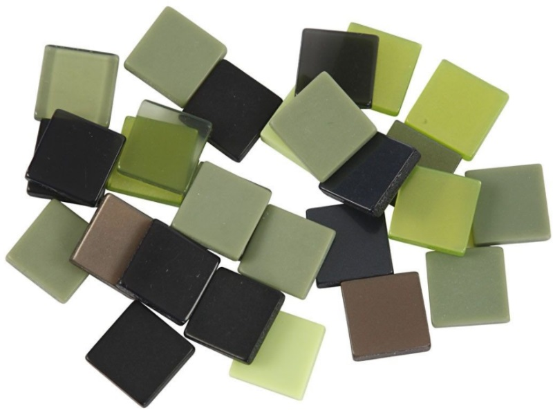 Mosaiksteine Mini-Mosaik Dekosteine Mini-Fliesen - 25g Beutel 10x10 mm, Farbe Gr