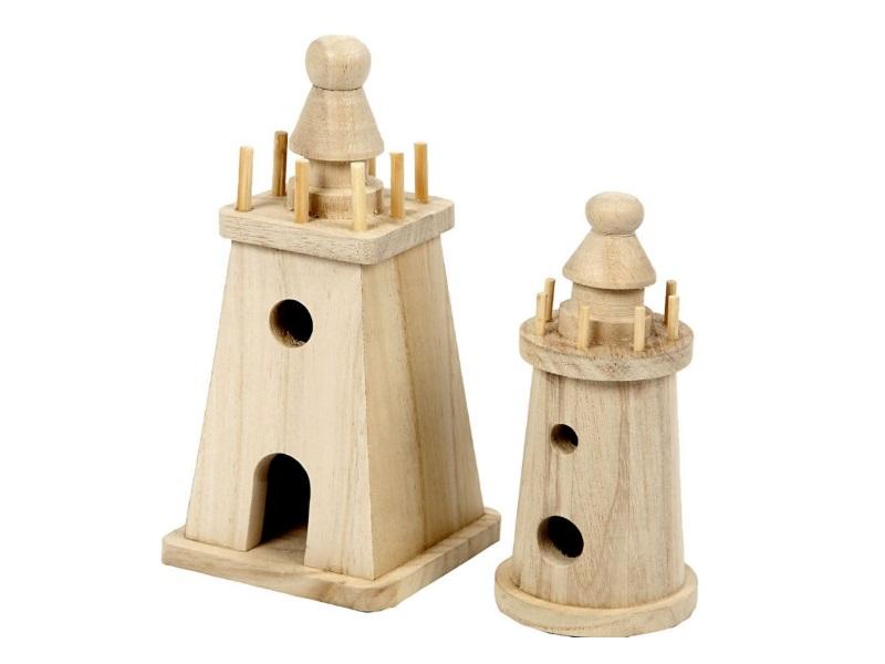 2er Set Leuchttürme zum selber Gestalten und dekorieren - Leuchtturm aus Kaiserb