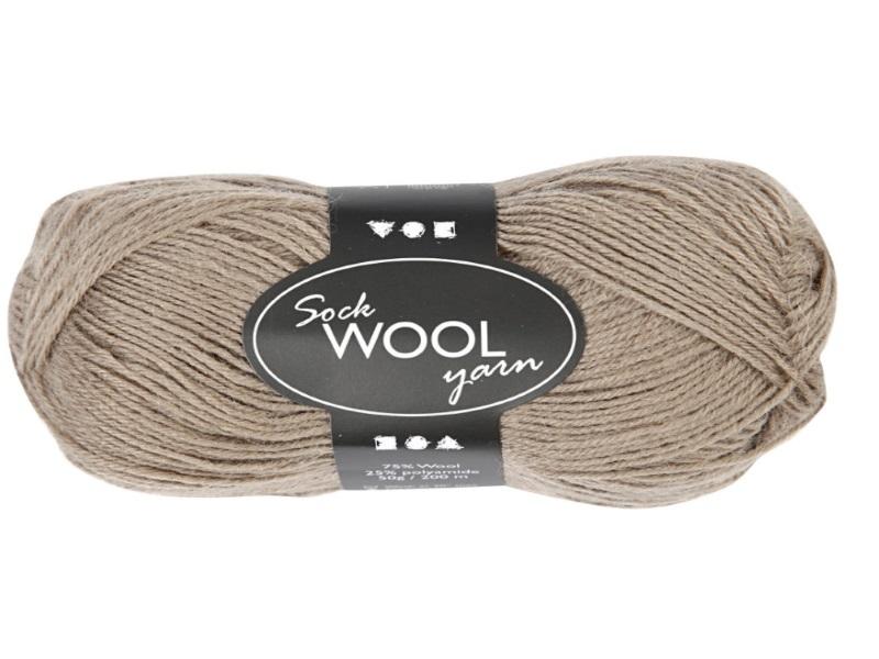 Sockenwolle Wolle - Länge 200m - 50g Farbe Hell-Braun