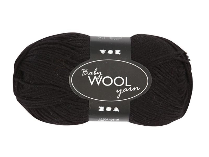 Babywolle - Extraweich - 100% austral. Merinowolle- Länge 172m - 50g - Schwarz