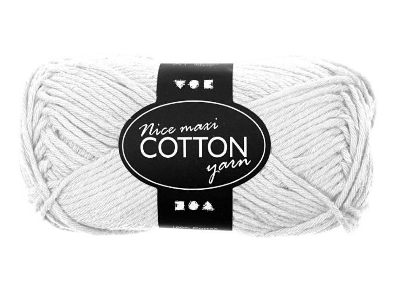 Baumwolle Maxi - Länge 80-85m - 50g Cotton Wolle - Farbe Weiss