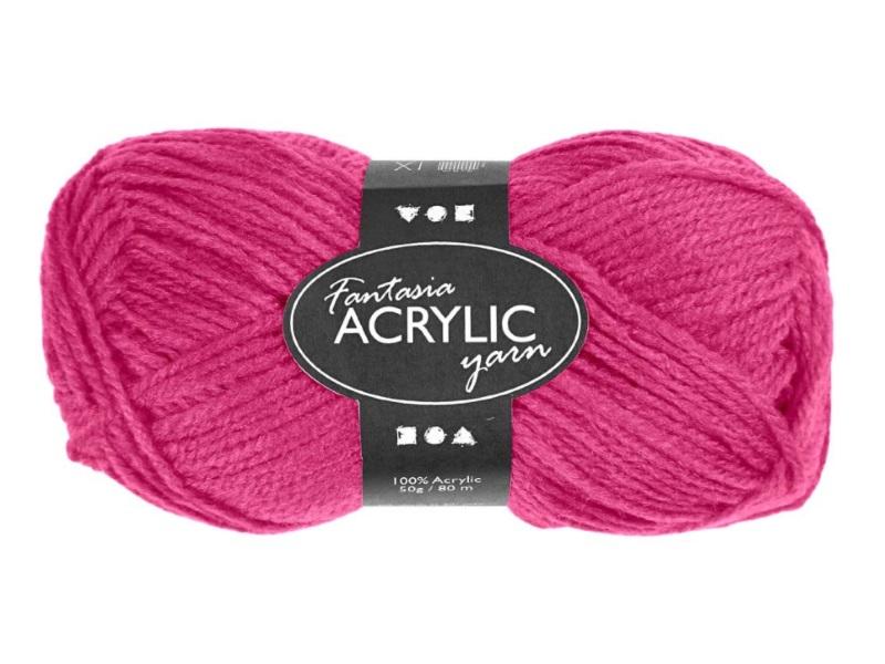 Fantasia 100% Polyacryl Wolle - 3-fädige Wolle - Länge 80m - 50g – Neon Pink