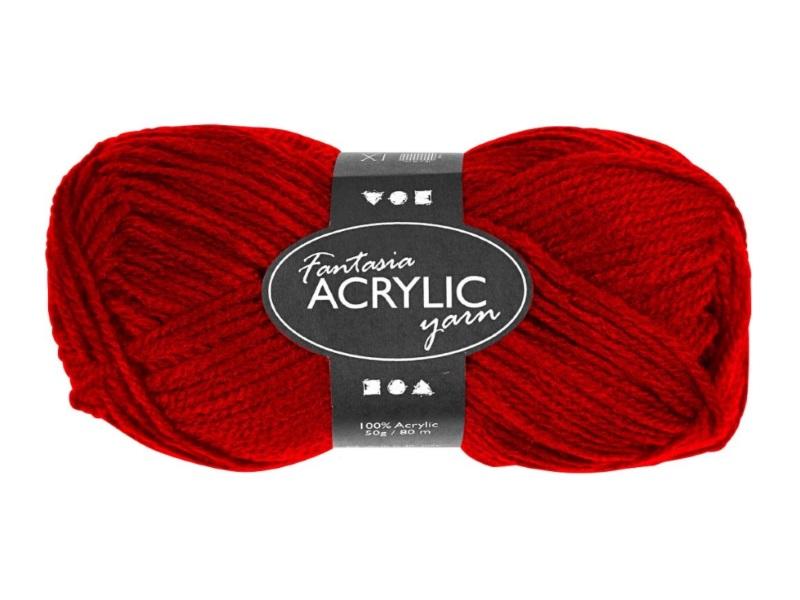 Fantasia 100% Polyacryl Wolle - 3-fädige Wolle - Länge 80m - 50g - Rot