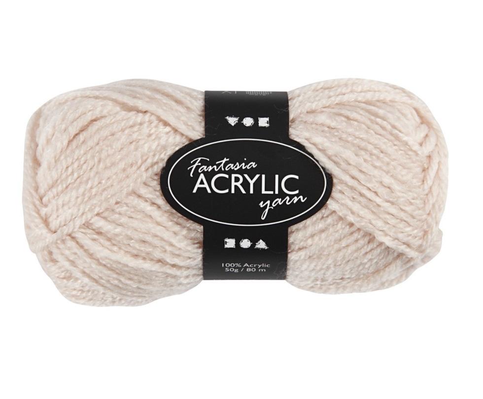Fantasia 100% Polyacryl Wolle - 3-fädige Wolle - Länge 80m - 50g - Powder