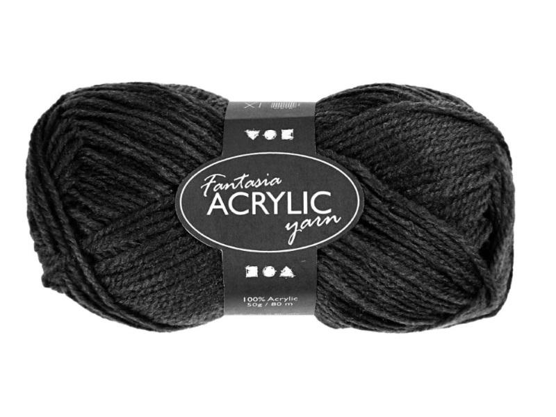 Fantasia 100% Polyacryl Wolle - 3-fädige Wolle - Länge 80m - 50g - Schwarz