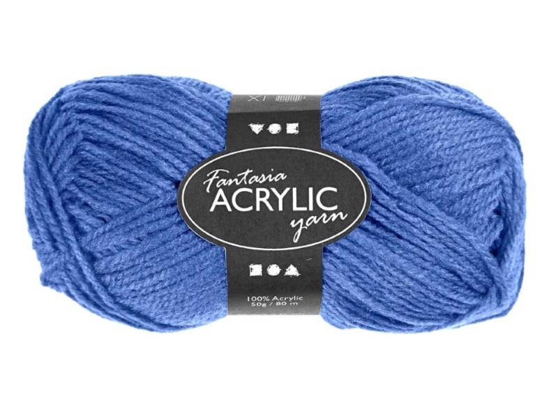Fantasia 100% Polyacryl Wolle - 3-fädige Wolle - Länge 80m - 50g - Blau