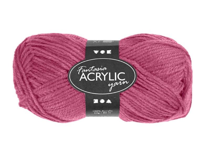 Fantasia 100% Polyacryl Wolle - 3-fädige Wolle - Länge 80m - 50g - Alt Rosa