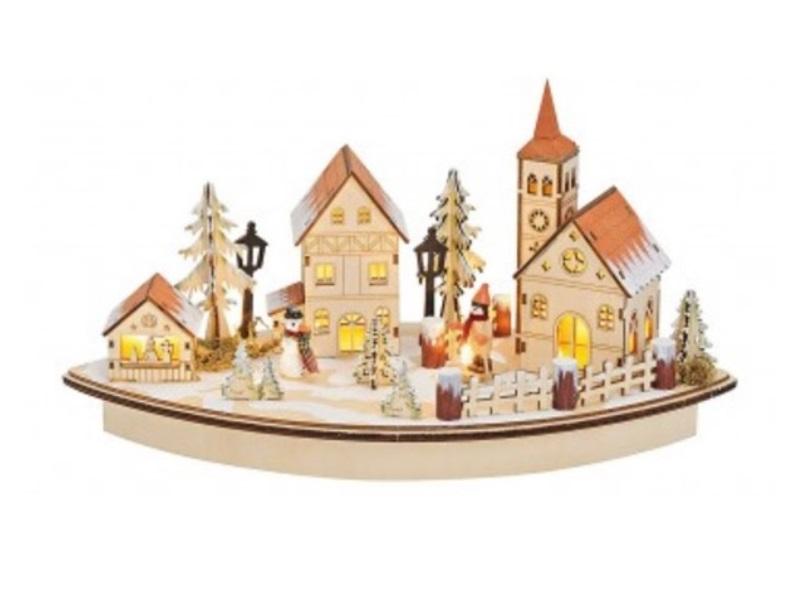 3D Winterszene Holz B36/T17/H20 cm (LED beleuchtet) kleines Dorf mit Kirche