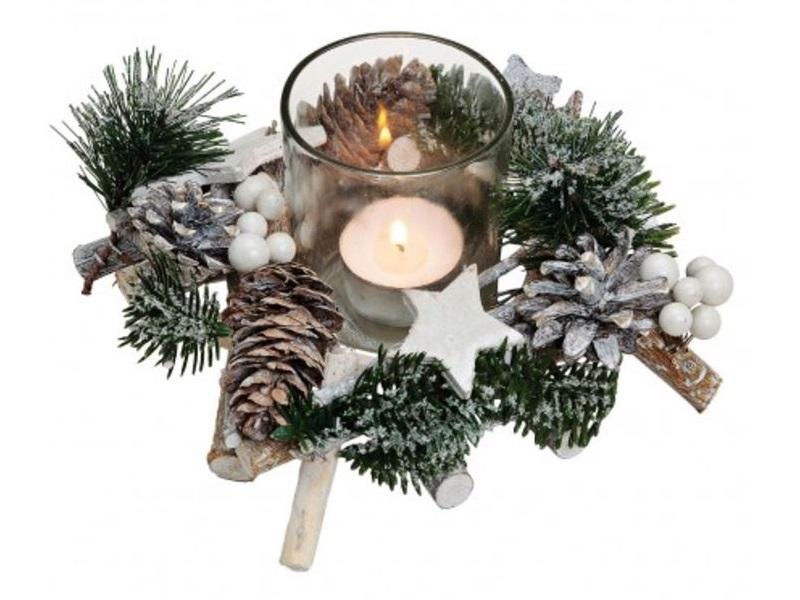 Kranz Windlicht Ø18h9cm Kunsttanne Weihnachtskranz Adventskranz Deko