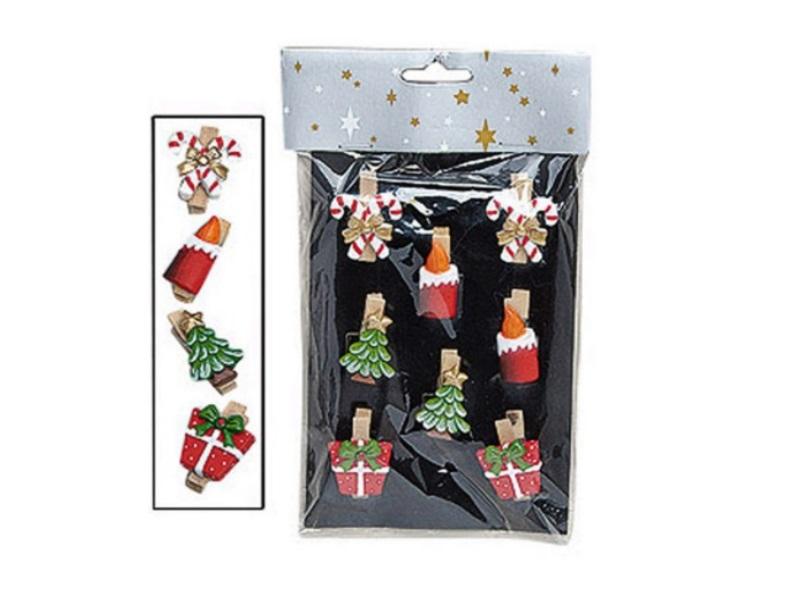 Servietten Klammern 8 tlg. Set (4cm) Mini Wäscheklammer Motiv: Weihnachts-Mix