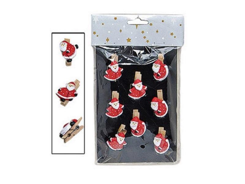 Servietten Klammern 8 tlg. Set (4cm) Mini Wäscheklammer Motiv: Weihnachtsmänner