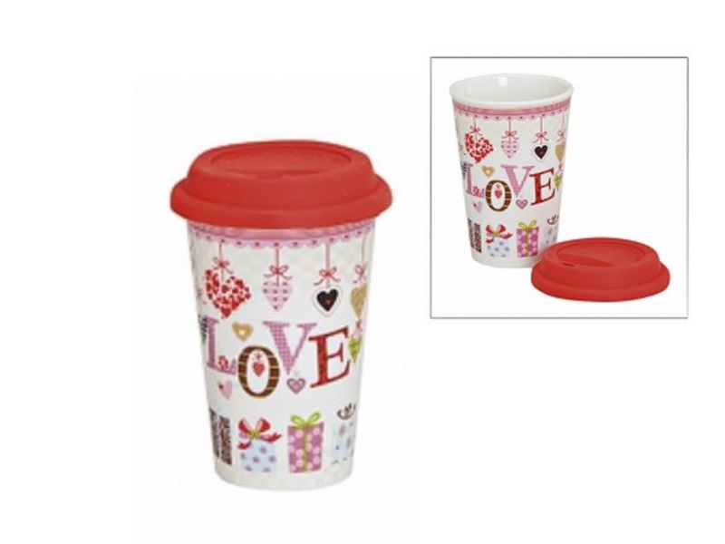 To go Kaffeebecher m. Deckel Kaffeetasse togo Becher Tasse Porzellan 400 ml Love