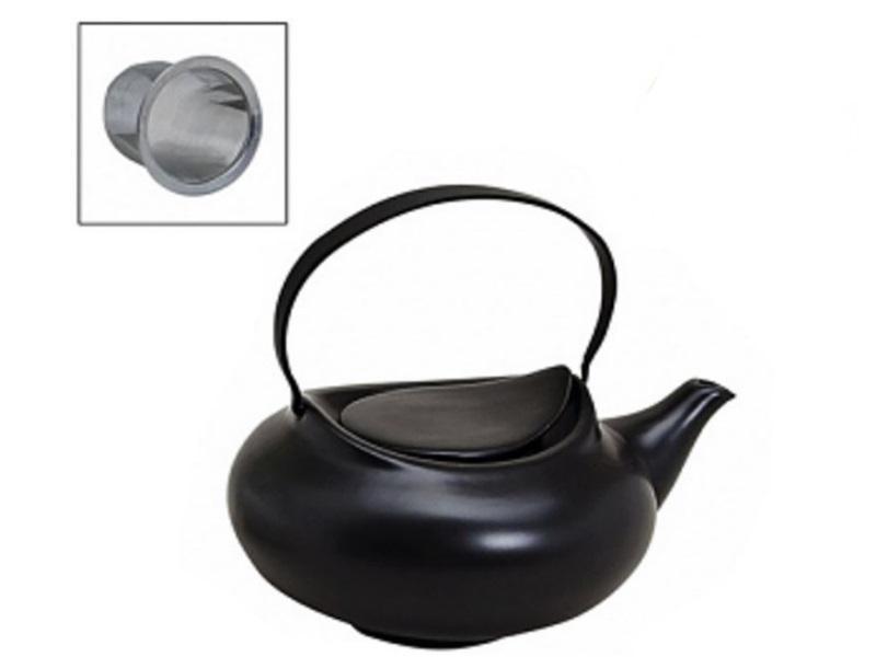 Design Teekann mit Sieb Porzellan Tee Kessel Teebereiter modern asiatisch 800ml