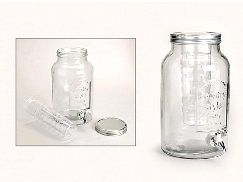 Glasfass 5 Liter mit Infuser und Zapfhahn Getränkespender