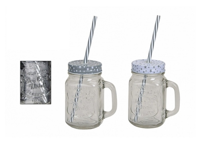 2 trinkgl ser mit henkel deckel und strohhalm sterne glas becher tasse 450 ml. Black Bedroom Furniture Sets. Home Design Ideas